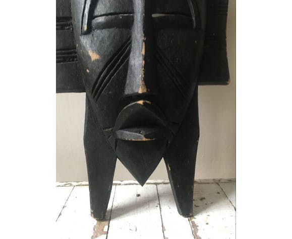Masque africain ancien bois massif