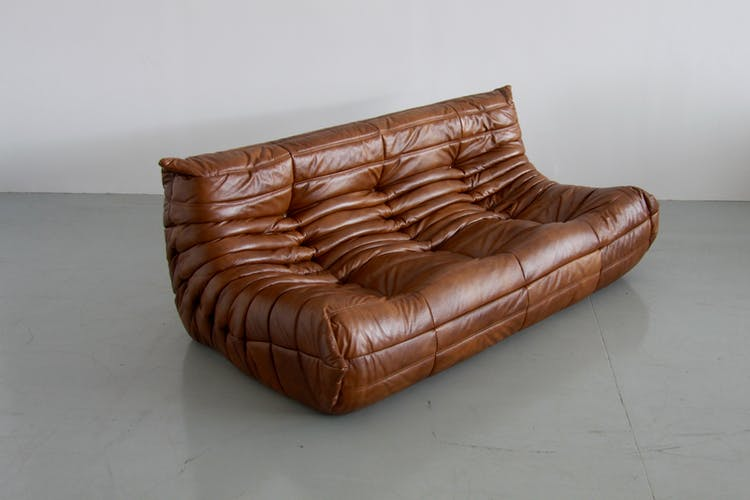 Sofa 3 places leather by Michel Ducaroy for Ligne Roset