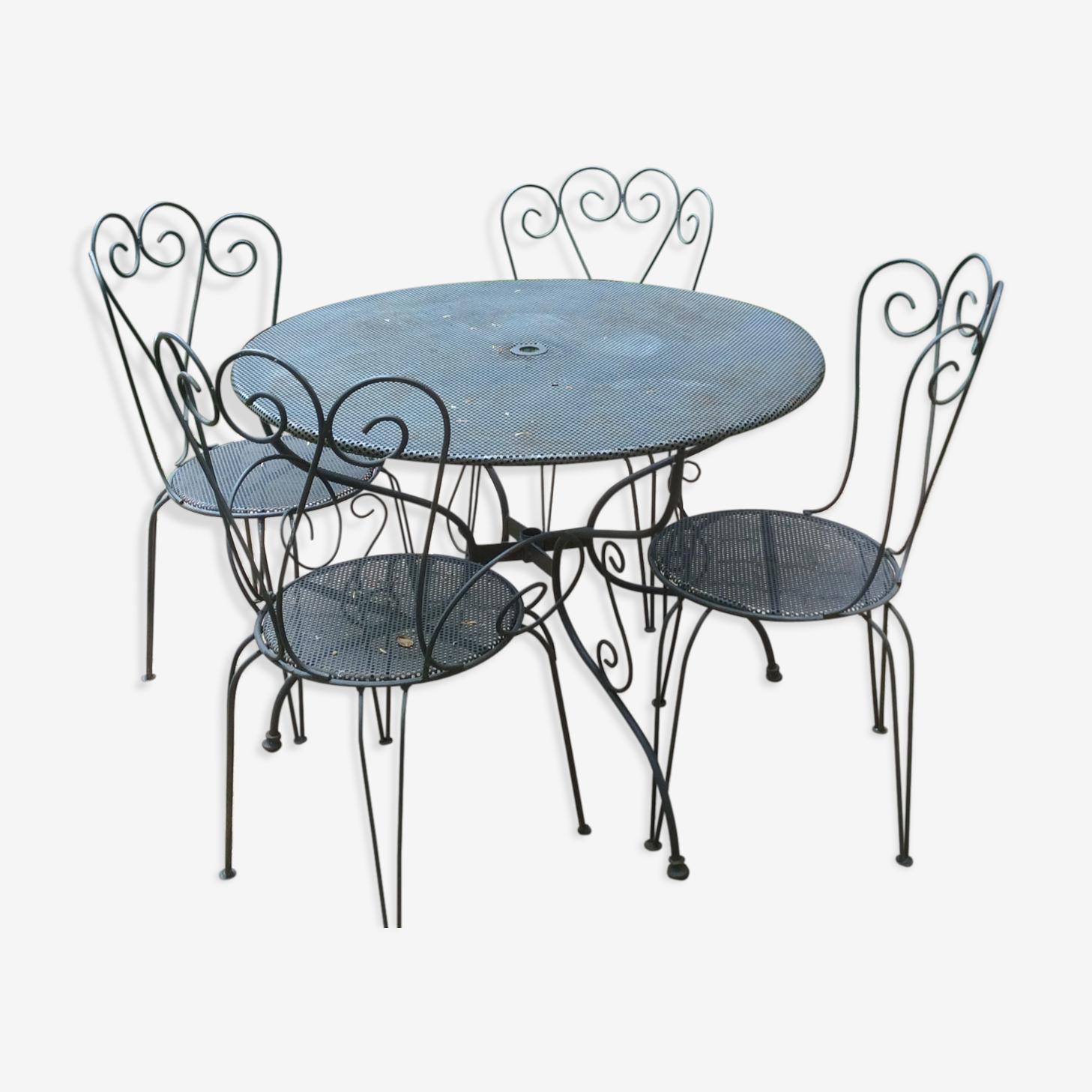 Table et 4 chaises en fer