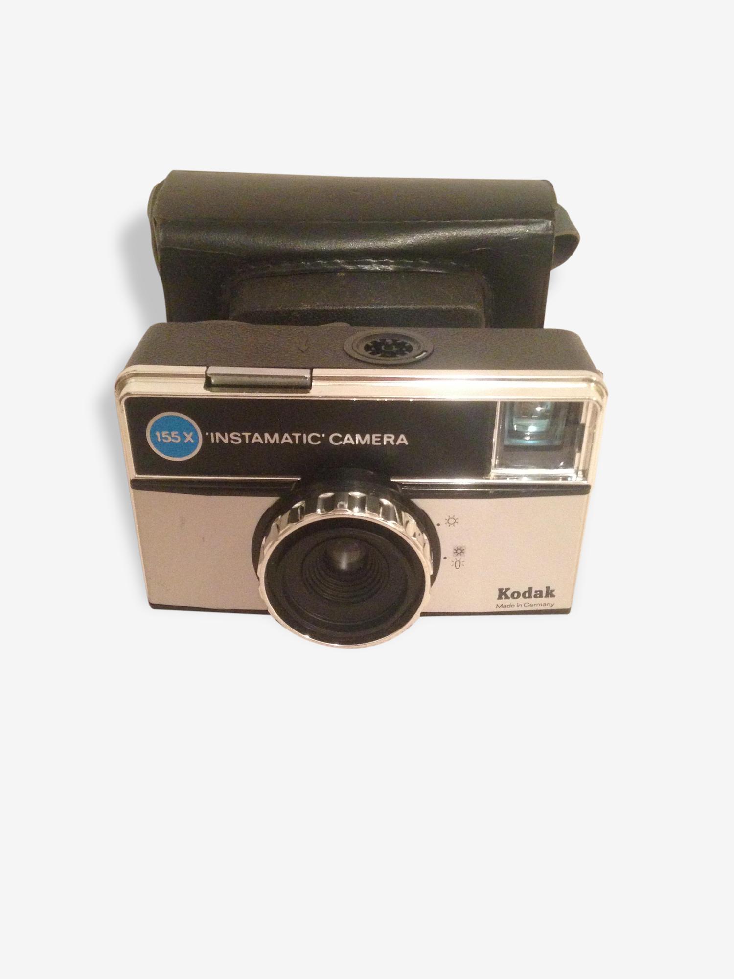 Appareil Photo Ancien KODAK 155X Instamatic Camera + Etui Cuir Vintage