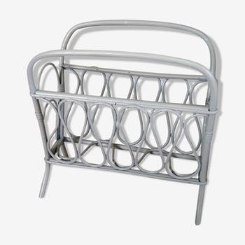 Vintage rattan magazine rack painted gray