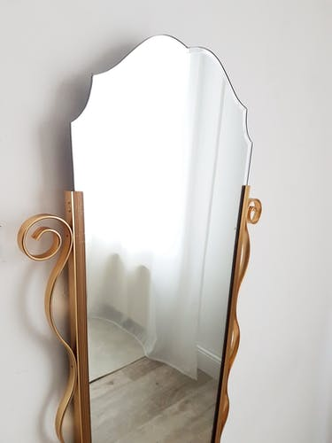 Gold metal beveled mirror