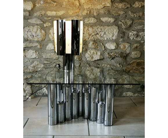 Finimetal cylindrical lamp in chrome and perspex metal. around 1970