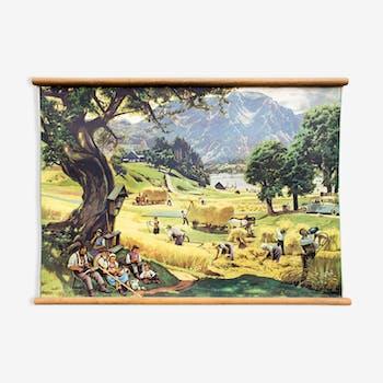 """Affiche """"Paysage"""" grille de temps l'éducation, la récolte 1919"""