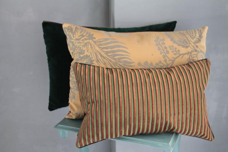 Editor's green and gold velvet cushion 30 x 50 cm