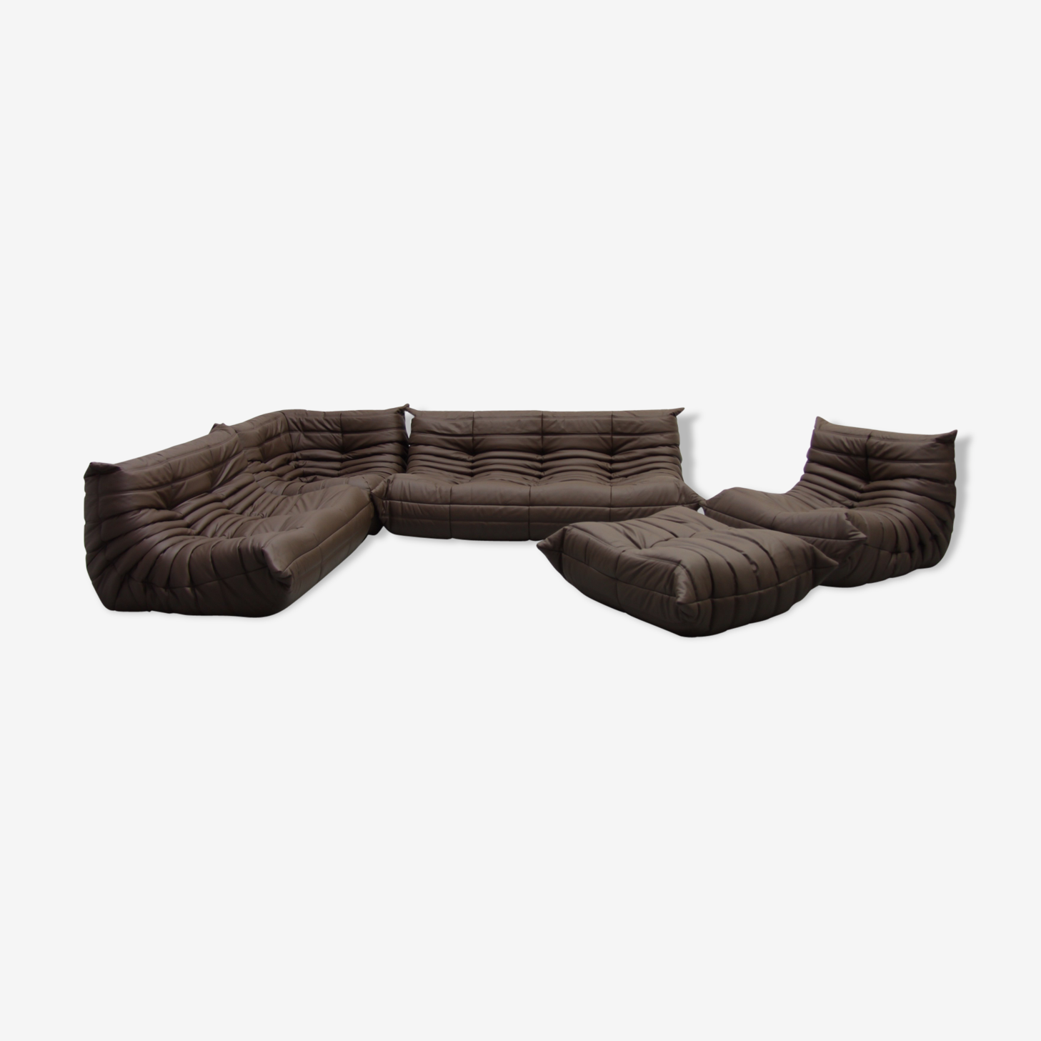 """Togo"" sofa set in leather by Michel Ducaroy for line Roset"