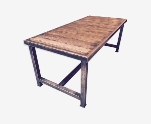Table Industrielle En Metal Et Chene Selency