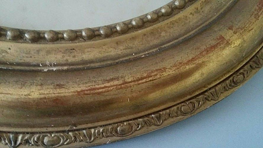 Gouache oval frame wood stuqué gilded with 19th leaf