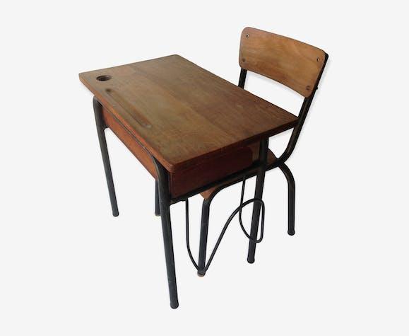 Ancien Bureau En Sa Chaise Bois D écolier Et N0mw8vn