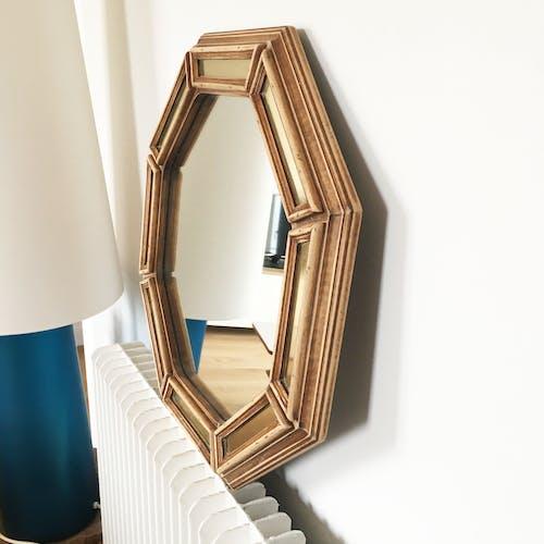 Miroir ancien à parcloses en bois et métal doré