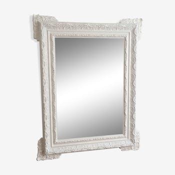 Miroir fin 19ème début 20ème blanc 82x65cm