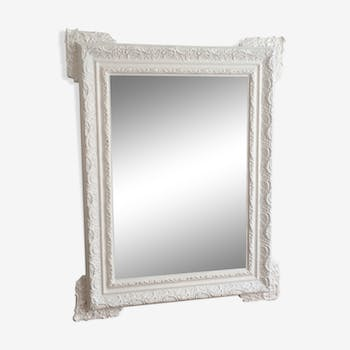Mirror end 19th early 20th white 82x65cm