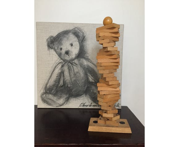 Jeu de dominos ancien en bois et vertical