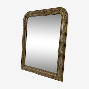 Old mirror plaster and golden wood 90x65cm