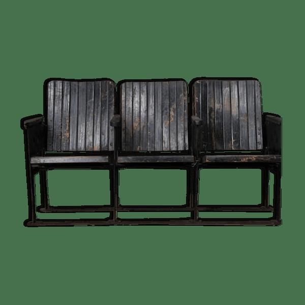 banc de cin ma vintage bois mat riau noir industriel 21g0jko. Black Bedroom Furniture Sets. Home Design Ideas