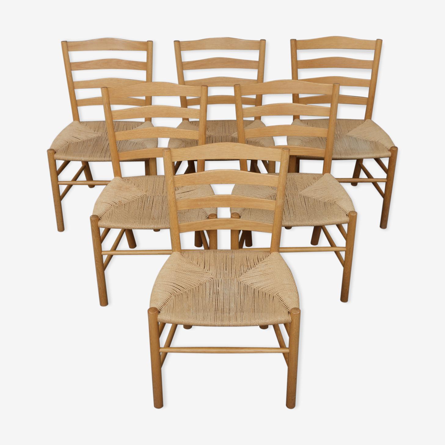 6 oak Church chairs by Kaare Klint 50s