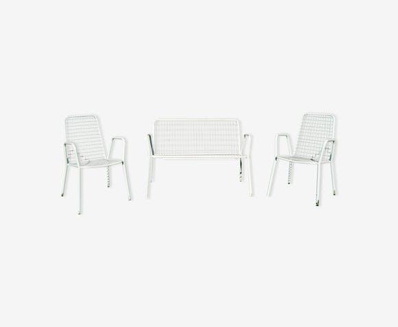 2 fauteuils de jardin italien Emu model Rio et leur banc vintage