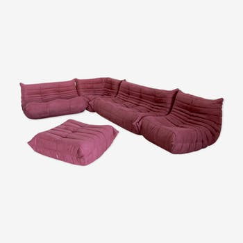 Set of lounge vintage aubergine by Michel Ducaroy for Ligne Roset Togo