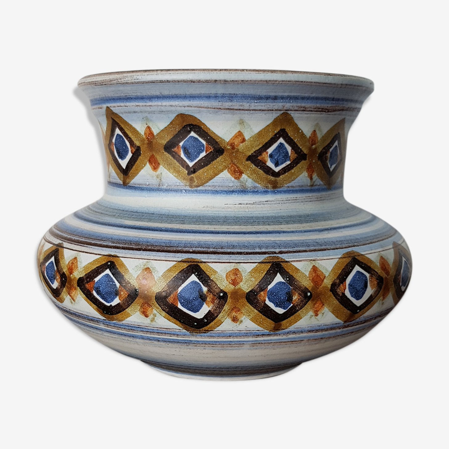 Vase signé Guillot décor ethnique