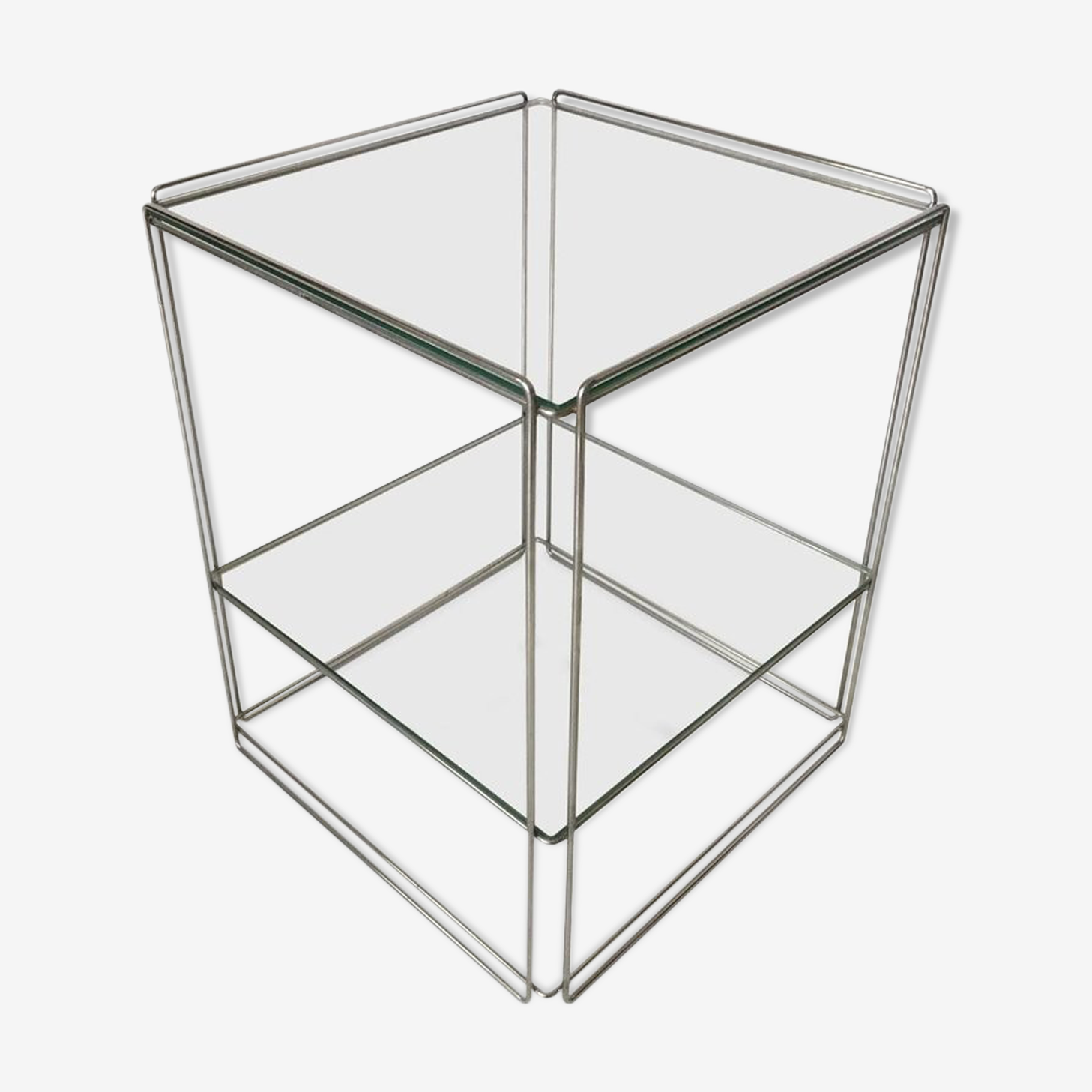 Two-tiered silver side table, circa 1960