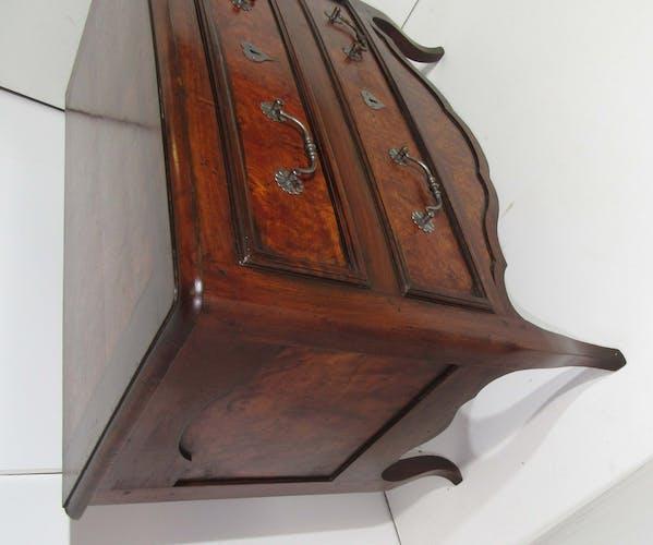 Commode hollandaise deux tiroirs en acajou et ronce de noyer