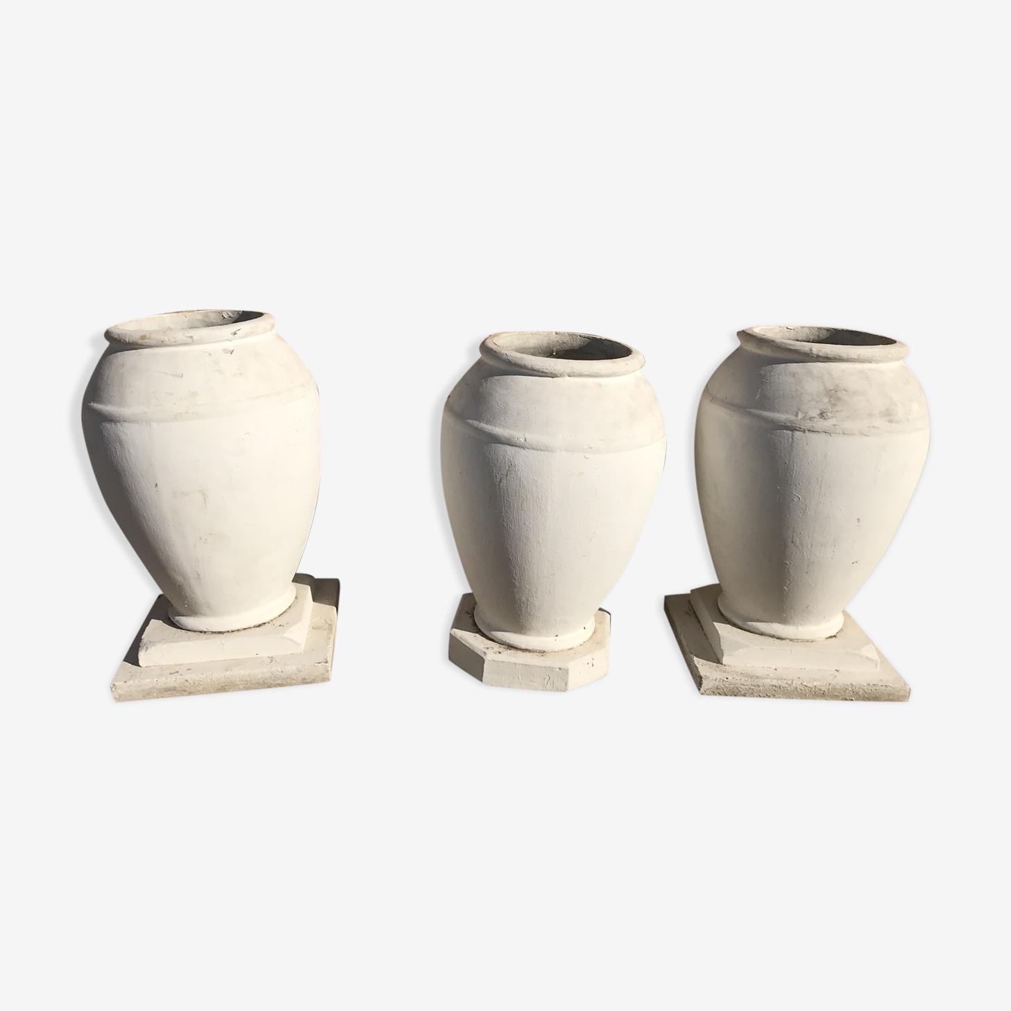 Lot de 3 pots en pierre