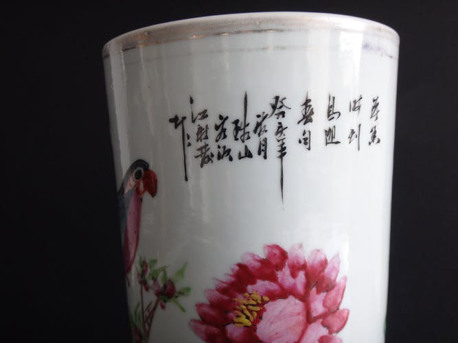 Ancien vase rouleau chinois perroquet porcelaine chinet poeme marque XIX