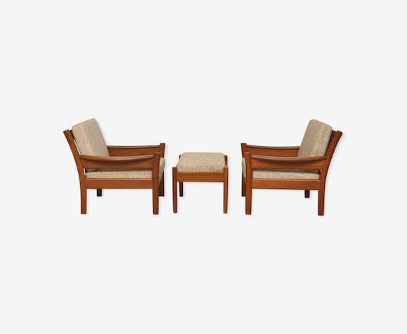 Paire de fauteuils Dyrlund avec ottoman, 1960