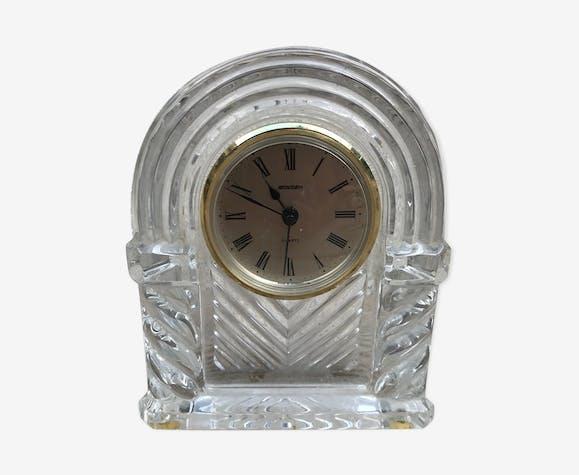 Pendule de cheminée table ancienne staiger verre moulé vintage