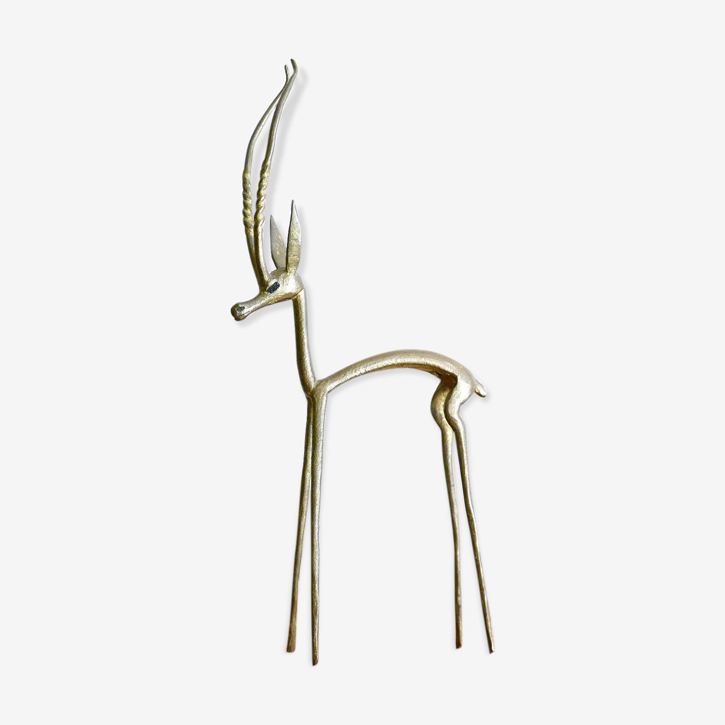 Gazelle en laiton, années 50