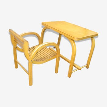 Bureau enfant et son fauteuil Baumann Art Déco