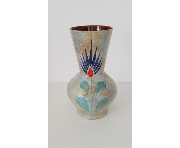 Vase céramique peint à la main vintage