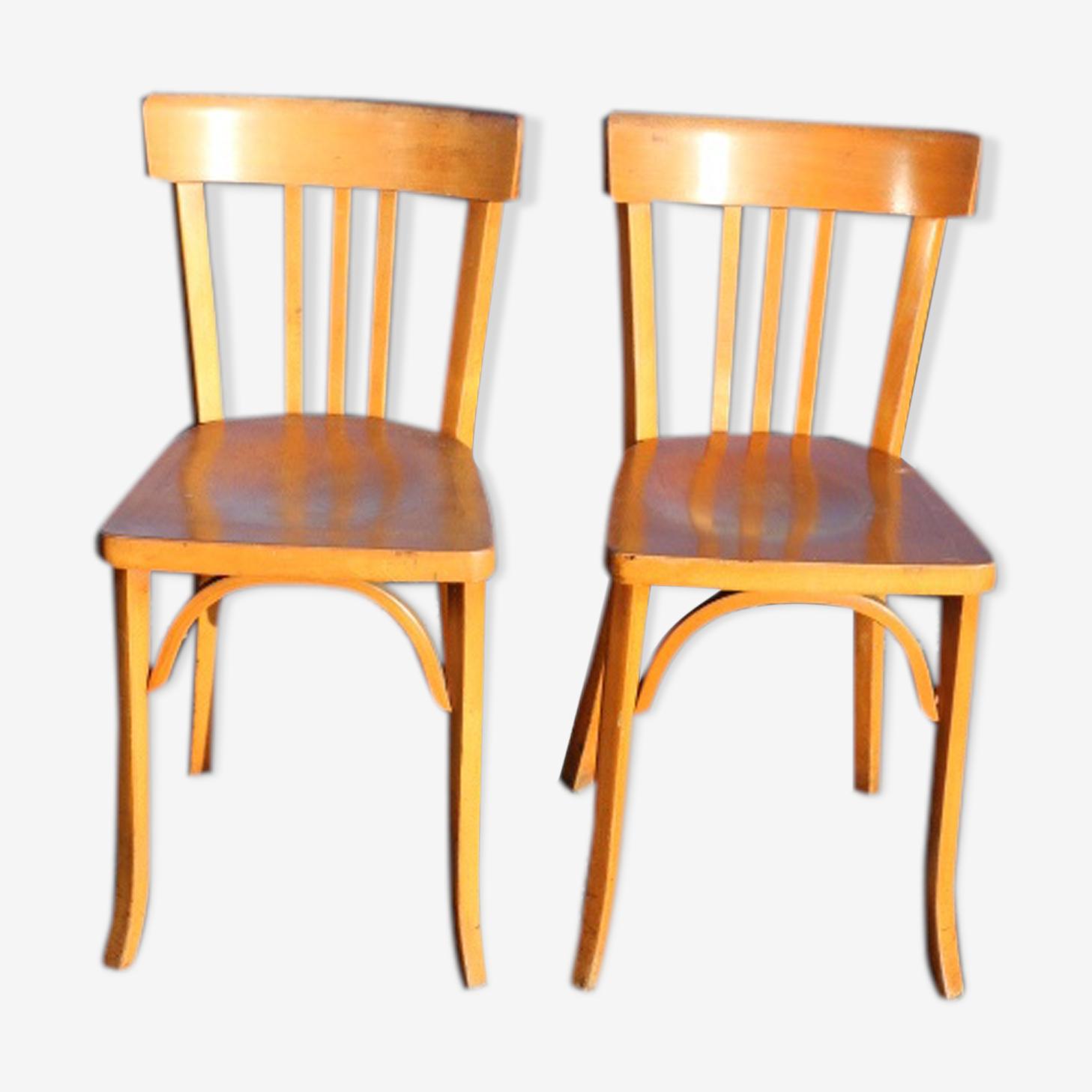 2 chaises Baumann n°27 hêtre clair