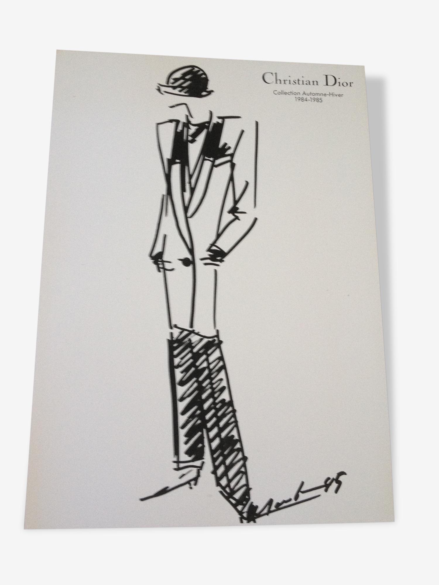 Christian dior : jolie illustration / tirage / croquis de mode de presse de Presse des Années 80