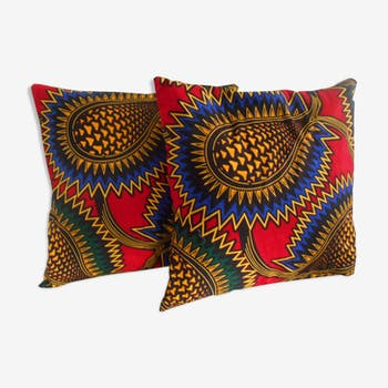 Duo of cushion covers in fabric wax 30 x 30 cm
