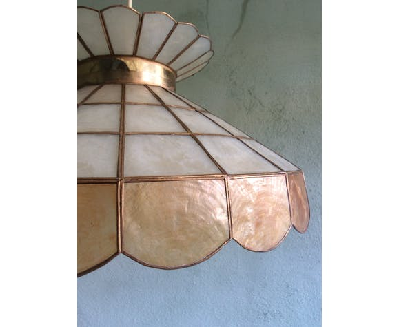 70s mother-of-pearl and brass pendant light