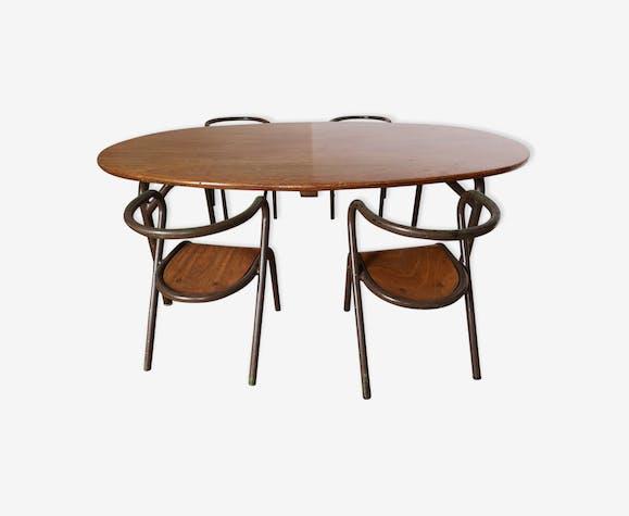 Ensemble table et chaises Mullca enfants par Jacques Hitier