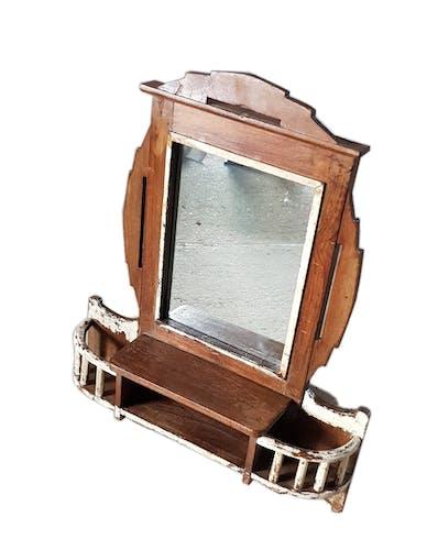 """Ancien miroir-étagère mural """"art déco"""" en teck"""