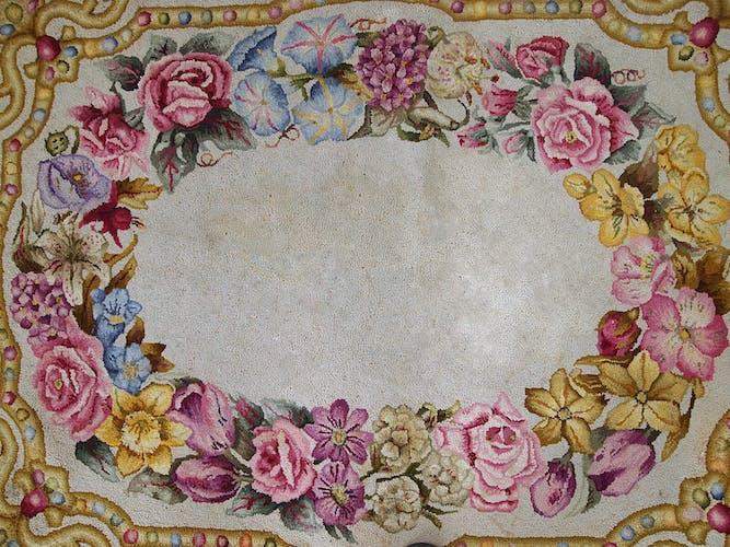 Tapis ancien américain hooked 92 x 120cm 1900s - 1c707
