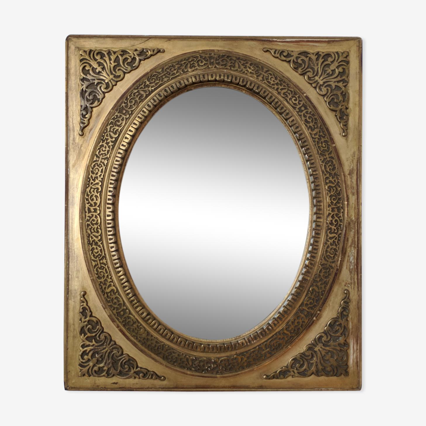 Ancien miroir ovale Napoléon III 52x42cm