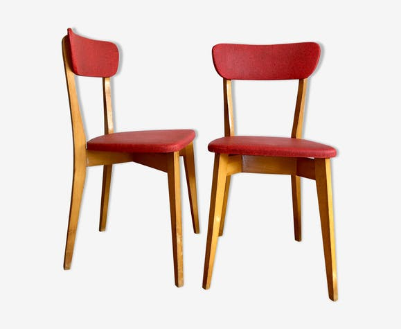 Paire de chaises bistrot rouges