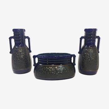 Set of 2 vases and planter vintage ceramic dated 1958