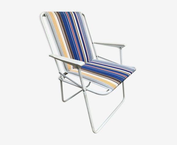 Chaise pliante de jardin - métal - bleu - vintage - VN2BQDI