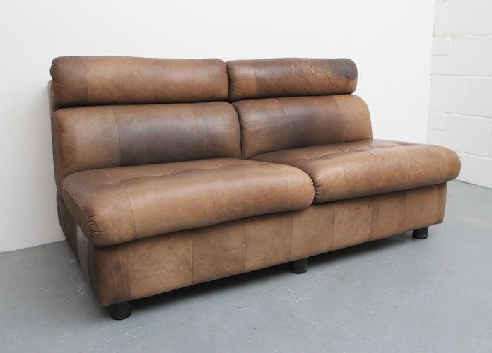 Canapé 2 places en cuir de buffle patchwork années 70