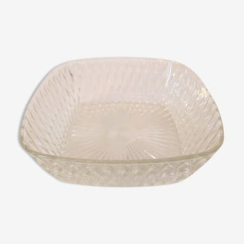 70's appearance diamond glass square bowl