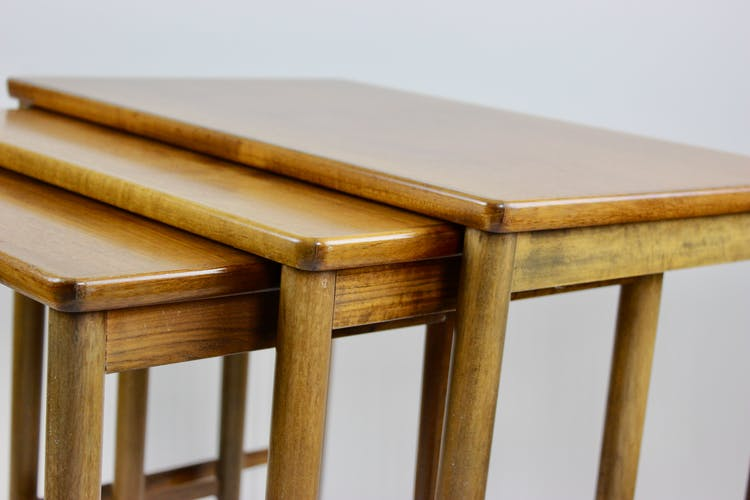 Mid Century Nesting Table by Opal, Set of 3, Walnut furniture