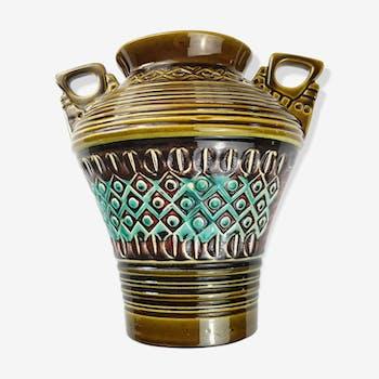 Handles green German ceramic vase fat lava era