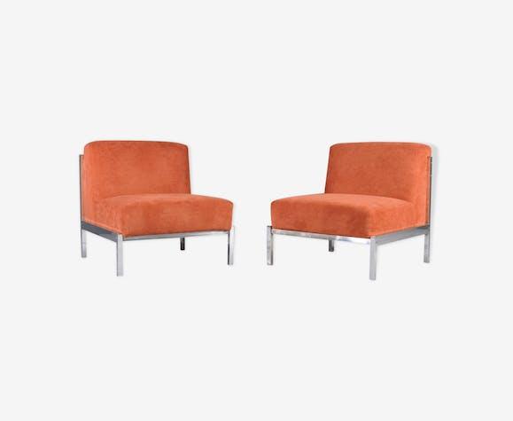 Paire de fauteuils, base de chrome, des années 1970