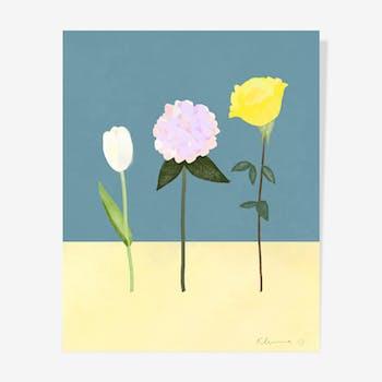 Three Oil Flowers — 40 x 50 cm