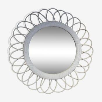 White rattan mirror - 41 cm